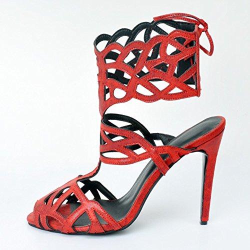 Kolnoo Damen Faschion Wildleder Ankle Strap Barely There High Heels Sandalen Slingback Schnürschuhe Reds