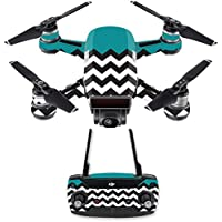 Skin for DJI Spark Mini Drone Combo - Teal Chevron| MightySkins Protective, Durable, and Unique Vinyl Decal wrap cover | Easy To Apply, Remove, and Change Styles | Made in the USA