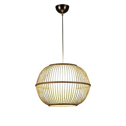 ZWD Lámpara de Bambú, Lámpara de Ratán Circular Luces de Restaurante Barbacoa Shop Cafetería Lámpara