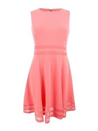 06020da3 Amazon.com: Calvin Klein Women's Illusion-Trim Fit & Flare Dress ...