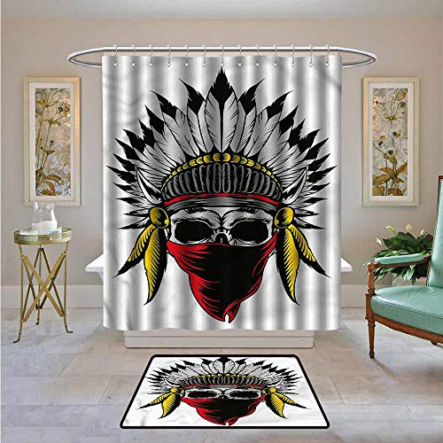 Kenneth Camilla01 Custom Shower Curtain Skull,Skull with Feathers Veil,Print Polyester Fabric Bathroom Decor Sets with Hooks 72
