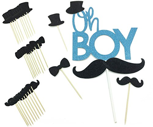 Blue Glitter Oh Boy Baby Cake Topper Black Mustache Bowtie Hat Gender Reveal Cupcake Topper Picks for Kids Baby Shower Birthday Party Supplies -