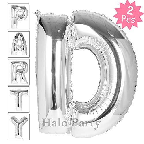 Letter Balloon, Number Balloon, 40 Inch Giant Jumbo Glossy Silver Letter Balloons, Birthday Party Decorations Big Alphabet Mylar Foil Helium Balloon (Silver Letter D) -