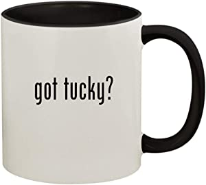 got tucky? - 11oz Ceramic Colored Handle and Inside Coffee Mug Cup, Black