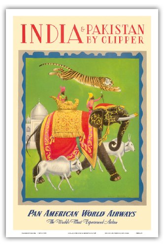 India and Pakistan by Clipper - Pan American World Airways - Vintage Airline Travel Poster by Charles Baskerville c.1949 - Master Art Print - 12in x 18in