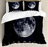Moon Phases Duvet Cover Set Queen Size by Lunarable, Giant Moon on the Starry Night Sky Eclipse Movement Celestial Science, Decorative 3 Piece Bedding Set with 2 Pillow Shams, Indigo Black Grey