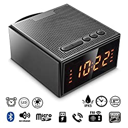 Alarm Clock Radio with Bluetooth Speaker - Digital Dimmable Clock Radio with 4 Alarm(Skip Weekend) for Bedroom,Wake to Micro SD Song/FM Radio,8W Wireless Speaker V4.2 with Mic for iPhone/Android