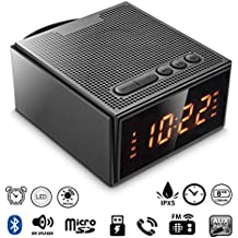 Alarm Clock Radio with Bluetooth Speaker - Digital Dimmable Clock Radio with 2 Dual Alarm(Skip Weekend) for Bedroom/Kids,Wake to Micro SD Song/FM Radio,8W Wireless Speaker V4.2 with Battery Backup