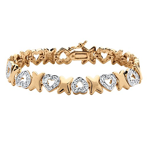 Genuine Diamond Accent Bracelet - Palm Beach Jewelry White Pave Diamond Accent 18k Gold-Plated Hearts and Kisses Bracelet 7