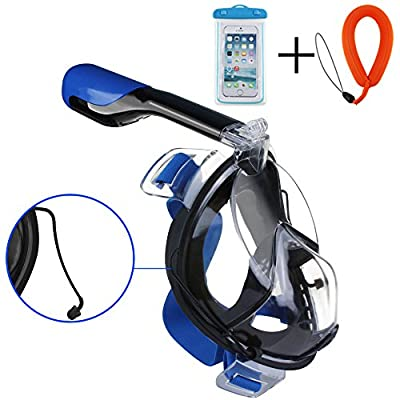 COOFINE Snorkeling Mask Diving Masks Full Face Easy Breath Anti-Fog Anti-Leak Adjustable Head Straps with 180° View See More Water world Larger Viewing Area