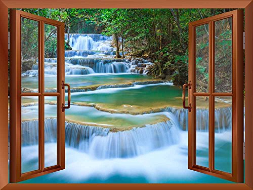 Cascading Waterfalls in Tropical Forest Removable Wall Sticker Wall Mural