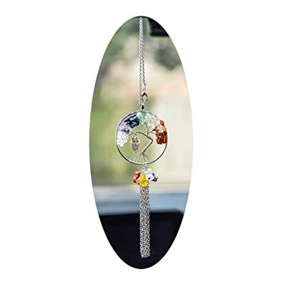 Boltz Tree of Life Pendant Car Charm Rear View Mirror Accessories, Sweater Chain Necklace Gemstone Chakra Jewelry (Owl): Home & Kitchen