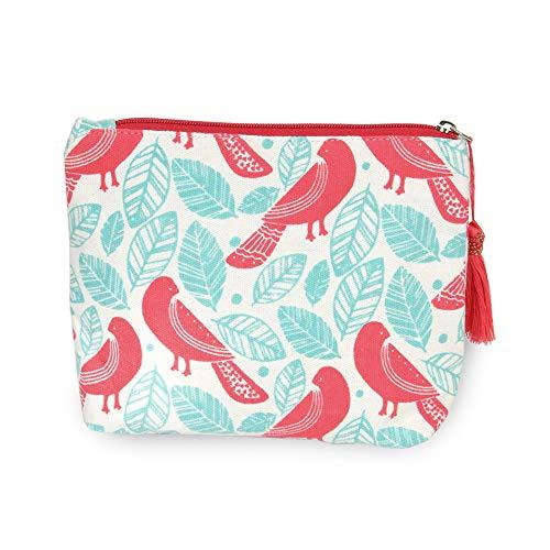 CCFW Pink Bird Print Cosmetic Pouch Bag Clutch Handbag Casual Purse 100% Cotton (Pink)