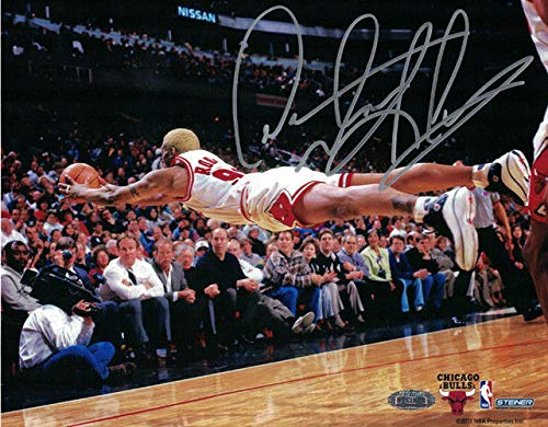 Dennis Rodman Autographed/Signed Chicago Bulls 8x10 Photo Steiner