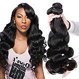 "Puddinghair Unprocessed Virgin Brazilian Hair Body Wave 3 Bundles Hair Extensions 22""24""26"" Grade 7A Human Hair Bundles Natural Black Color"