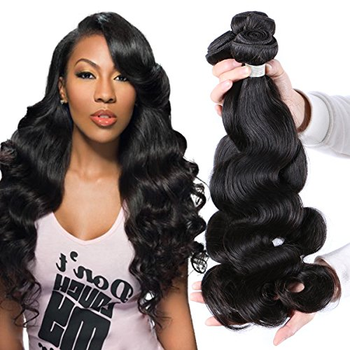 "Puddinghair Unprocessed Virgin Brazilian Hair Body Wave 3 Bundles Hair Extensions 22""24""26"" Grade 7A Human Hair Bundles Natural Black Color by Puddinghair"