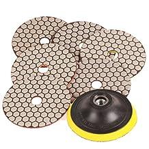 "SPTA Mix Grit Premium Grade Dry 4""(100mm) Diamond Polishing Pads Set -5/8""-11 Thread For Wet Polisher Granite Marble Stone Polish Pack Of 7Pcs"