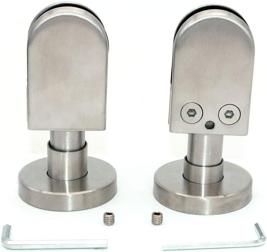 Juego de 2 abrazaderas de vidrio NUZAMAS, soporte para poste de soporte de planta baja, abrazadera en U de acero inoxidable 304,adecuado para paneles de vidrio de 10-12mm,pantallas,cerca de piscina