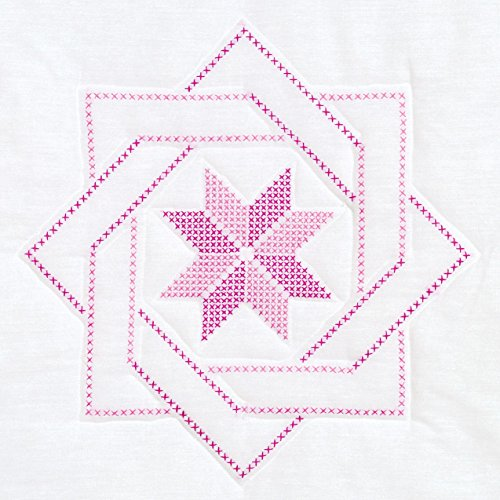 Jack Dempsey Stamped White Quilt Blocks, 18 by 18-Inch, Woven Star, - Cross Blocks Quilt Stitch