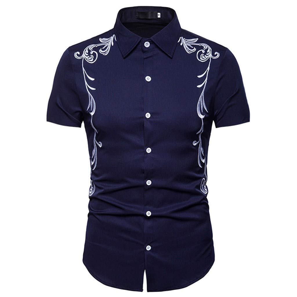 linqiudD Hipster Men Casual Slim Fit Short Sleeve Button Down Shirts Tops with Embroidery