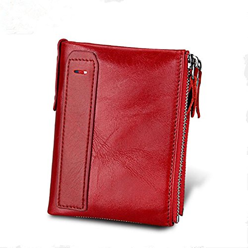 RFID Men's Wallet Genuine Leather Double Zipper Purse (Red) (Leather Wallet Jessica)