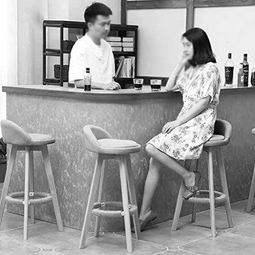 Qing MEI Meubles De Style Moderne Gris Blanc Tabouret De Bar Chaise De Bar Cuisine Petit-déjeuner Rotatif Tabouret en Bois Jambes Assis Haut: Tabouret De Bar 73CM A++