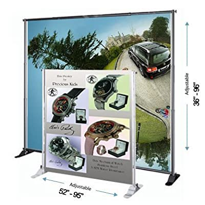 DSM ˜ 8' Telescopic Banner Stand Step and Repeat Adjustable Backdrop Wall Exhibitor Expanding Display Photographic Background Trade Show Photographic Back Ground