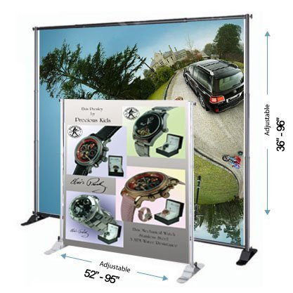 DSM ˜ 8' Telescopic Banner Stand Step and Repeat Adjustable Backdrop Wall Exhibitor Expanding Display Photographic Background Trade Show Photographic Back ()