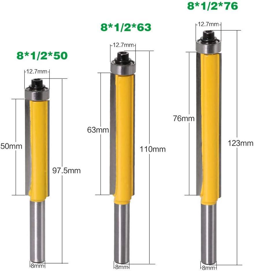 DingGreat 3Pcs Fresa para paneles con rodamiento hoja de corte recta extra larga Herramienta de corte de carpinter/ía con v/ástago de 8 mm
