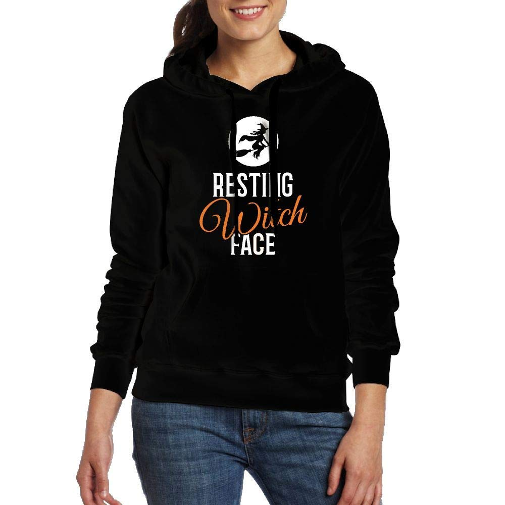 YLJIA Resting Witch Face Halloween Adult Womens Long-Sleeved Sweater T Shirt with Pocket