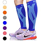 BLITZU Calf Compression Sleeve Leg Performance Support Shin Splint & Calf Pain Relief. Men Women Runners Guards Sleeves Running. Improves Circulation Recovery (Blue, Large/X-Large)