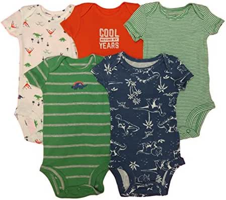 Carter's Baby Boys' 5 Pack Bodysuits (Baby) - Dinosaurs Mix 3M