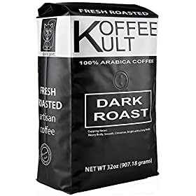 Koffee Kult Coffee Beans Dark Roasted – Highest Quality Delicious Organically Sourced Fair Trade – Whole Bean Coffee – Fresh Gourmet Aromatic Artisan Blend
