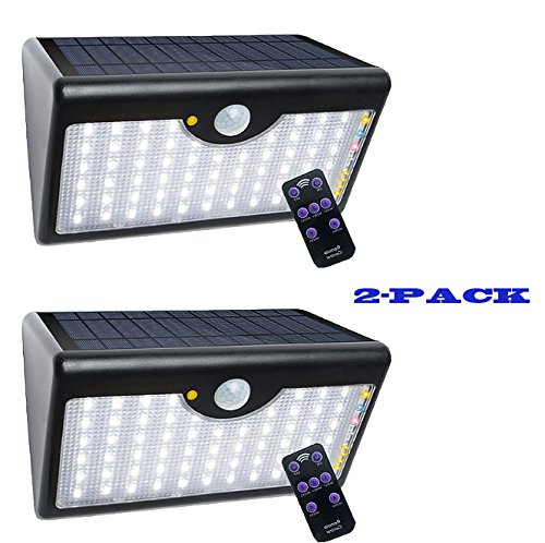 2-PACK 60LED Outdoor Wireless Waterproof Solar Sensor Wall Light for Garden Driveway Porch (Black) by outopen