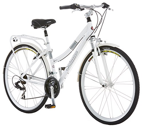 Cycling style. Schwinn Discover Hybrid Bike for Men and Women, 21-Speed, 28-inch Wheels, 16-inch/Small Frame, White
