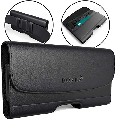 BOMEA iPhone 8 Plus Holster iPhone 7 Plus Case with Belt Clip Leather Pouch with ID Card Holder for iPhone 8 Plus 6S Plus (Belt Case Fits Phone with Otterbox Battery or Lifeproof Case on) Black (Best Iphone 6s Plus Case With Belt Clip)