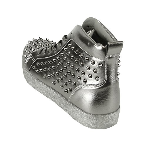 Fiesso Mens PU Leather Stylish Rivet Studded High Top Ankle Flat Sneakers Silver Spikes Silver z8Mnn8fe4