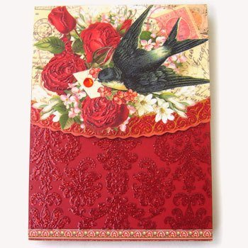Punch Studio Boutique Mini Pocket Note Pad, Valentine's Day Red Rose Love Letter Bird Delivery