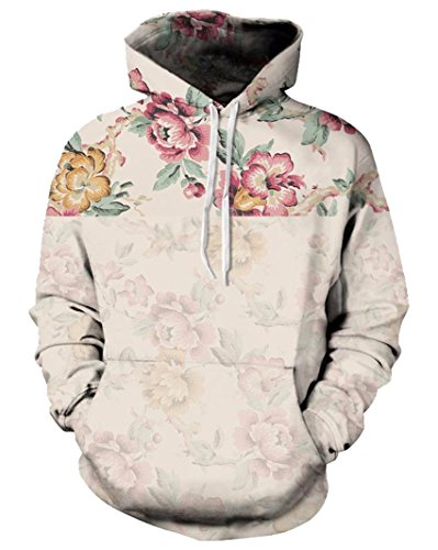 Price comparison product image Takra Gold Hoodies 3D Vintage Floral Flowers Print Sweatshirts Unisex Street Casual Tracksuits Tops XL