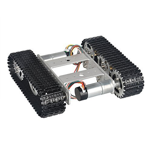 MOUNTAIN_ARK Tracked Robot Smart Car Platform Aluminum Alloy Chassis with  Dual DC 9V Motor for Arduino Raspberry Pi DIY