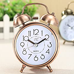 KINGSO 4'' The Vintage Retro Mental Twin Bell Alarm Clock with Nightlight, Battery Power Desk Clock rose gold