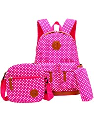 Tibes Fashion Girls Nylon Cute Backpack + Pencil bag + Coin Purse 3pcs Set Kids Backpack Waterproof