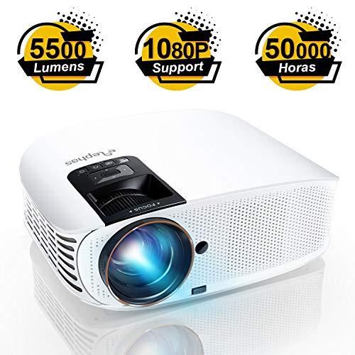 Proyector ELEPHAS, Proyector de video HD de 5500 lumenes Proyector de cine LCD para cine en casa de 200 Full HD 1080p HDMI VGA Av USB Ideal para entretenimiento en el hogar Juegos de fiesta, Blanco