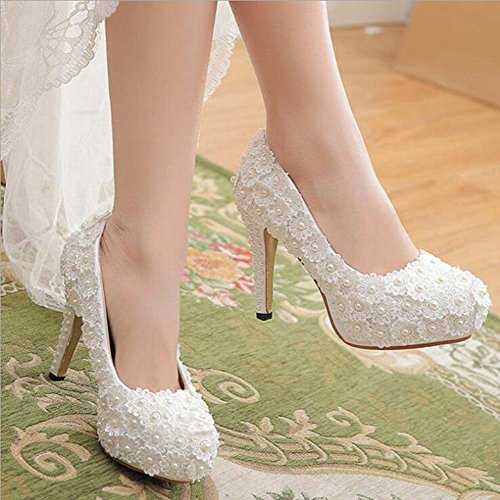 Round Platform Wedding Heels Pearl Lace Shoes Mouth Shoes Waterproof Shallow White Ladies High v5UwYqt