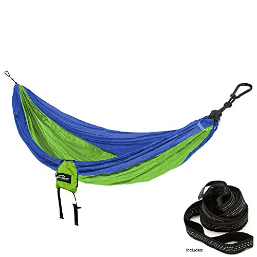 (Castaway Travel Hammocks Single Travel Hammock with Hanging Straps -Royal/Neon Green)