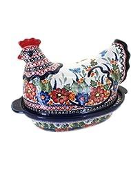 Polish Pottery Floral Butterfly Hen Baker