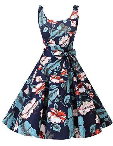 Bowknot Vintage Retro Polka Dot Rockabilly Swing Dress Navy White Flower XL ()