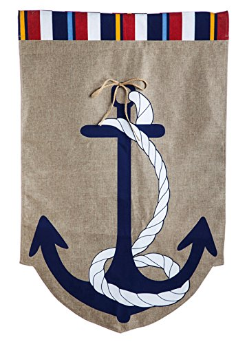 Evergreen Burlap Anchors Away House Flag, 28 by 44 (44 Decorative Flag)
