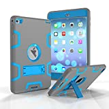 MAKEIT CASE ipad mini 4 Case Shock-Absorption High Impact Resistant Armor Defender Protective Cover Case With Kickstand Feature for iPad Mini 4 -Gray/Blue