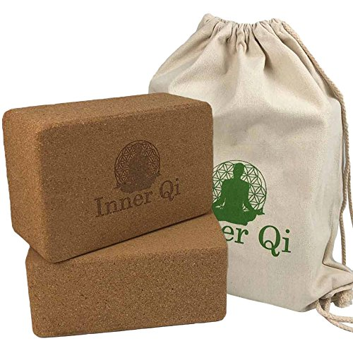 Cork Yoga Blocks 2 Pack - Cork Yoga Block Set with Carrying Bag by Inner Qi by Inner Qi
